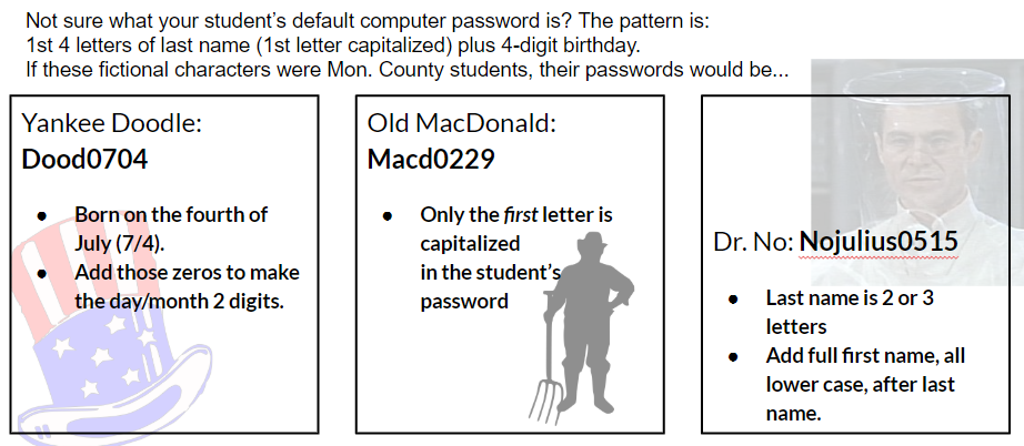 Not sure what your student's default computer password is? The pattern is:  1st 4 letters of last name (1st letter capitalized) plus 4-digit birthday.  If you need more help, please call 304-291-9210 extension 1511.